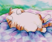 Original watercolour illustration by Wendi Fyers. Fat Ginger Tom takes a Nap