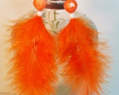 Native American Inspired, Orange Feathered earrings, with orange, pearly white and silver beads, very popular