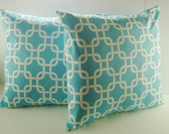 """Pillow Covers -  Set Of Two -  Girly Blue """" Gotcha """"  Accent Pillows   Throw Pillows   Decorative 18 X 18"""