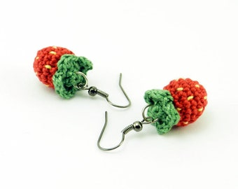 Amigurumi Strawberry French Hook Earrings
