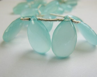 Blue Chalcedony, Flat Pear Briolettes, Micro Faceted, Aqua Blue, AAA, aaagems, 15-17mm, Half Strand, 6 Beads