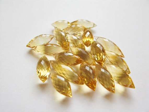 Citrine Dew Drop Briolettes, Micro Faceted, AAA, 10-14mm, 9 Beads