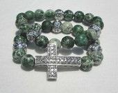 Set of 2 Natural Green Spot Stone Sideways Cross Gemstone Bracelets