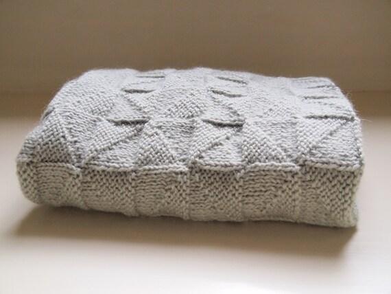 Baby Blanket, 100% lambswool, hand knit, green sage pinwheels