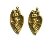 2 Antique Brass Weeping Angel Earring Components