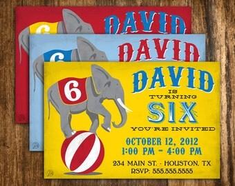 Retro Style Circus Elephant Birthday Invitation