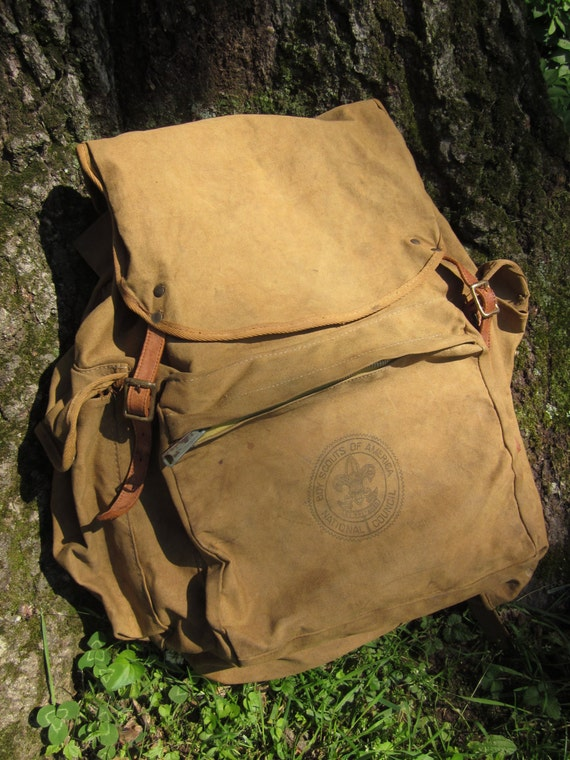 Vintage 1960 S Backpack Boy Scouts Of America Canvas