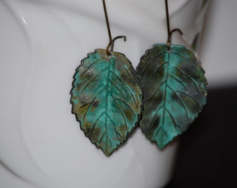 Verdigris leaf earrings, nature inspired earrings, leaf earrings, green leaf earrings, leaf jewelry, gift