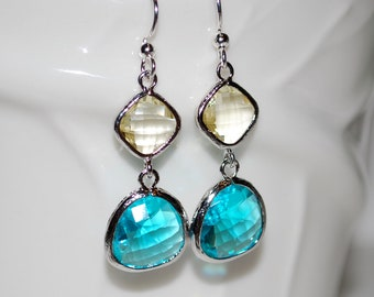 Dark aqua and pale lemon glass gem earrings, drop earrings, summer earrings, gift