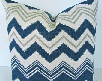 NAVY BLUE PILLOWS Navy Blue Chevron Throw Pillow Covers 20x20 Gray Ikat Decorative Throw pillows Home and living Home Decor