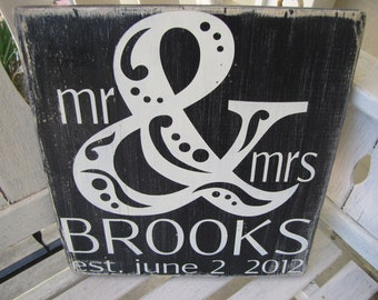 Custom Distressed Wedding Sign- MR & MRS