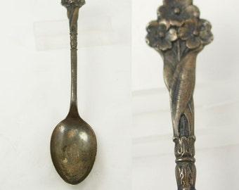 Vintage Art Nouveau Silver Spoon Demitasse Flowers Sterling Three Hallmark Phoenician Design Birthday Collectors