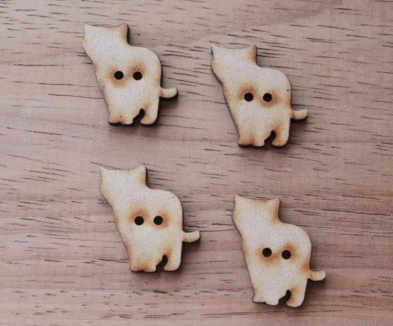 4 Craft Wood Kitten Buttons, 2.5 cm Wide, Laser Cut Wood