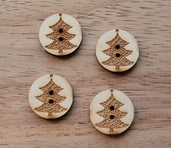 4 Craft Wood Christmas Tree.Round Buttons, 2.5 cm Wide, Laser Cut Wood