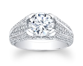 Ladies 14kt white gold diamond engagement ring 1.00 ctw G-VS2 diamond quality with 2ct White Sapphire Round
