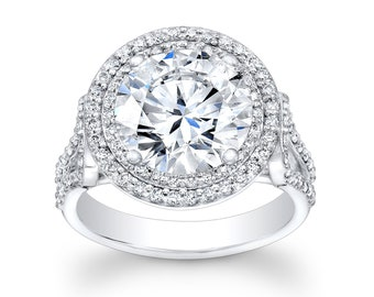 Ladies 14kt white gold diamond engagement ring 0.75 ctw G-VS2 quality with 2ct Round white sapphire