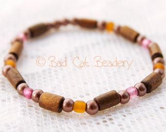 Brown Wood Pink Berry Beaded Stretch Stack Bracelet - Single Bracelet