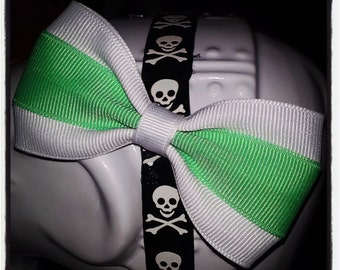 White Ribbon Hair Bow with Mint Center Stripe