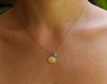 Gold necklace, coin necklace, disc necklace, turquoise necklace, minimalist jewelry, everyday necklace, gold necklace, everyday jewelry gold