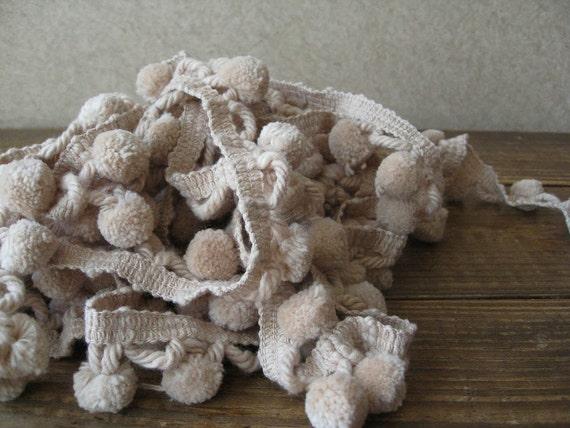 RESERVED for Rachel - 6 yards of tan pom pom ball fringe