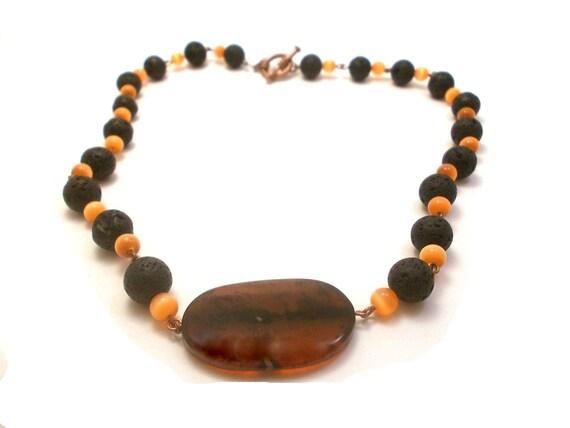 Tangerine Tango Necklace, Black lava necklace, Halloween Jewelry, Onyx Agate Necklace, Volcanic Lava Bead Necklace, black and orange jewelry
