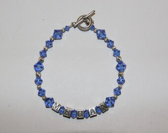 Blue Swarovski  and Sterling Silver Name Bracelet.