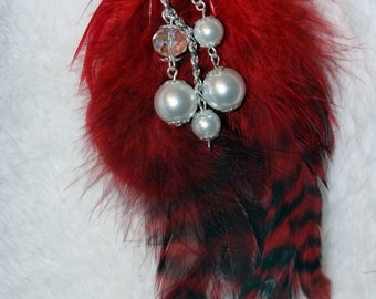 Crystal and feather brooch