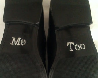 Me Too Shoe Stickers Clear / Blue Rhinestone Me Too Wedding Shoe Appliques - Rhinestone Shoe Decals for your Husbands Shoes Something Blue