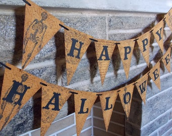 Happy Halloween Banner Stamped Embossed and Distressed, Vintage Style Halloween Banner, Halloween Decoration, Halloween Party, Skeleton Sign