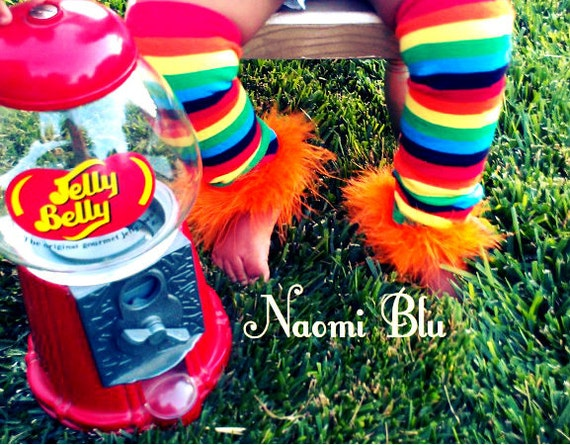 Rainbow Marabou Leg Warmers. Great for circus themed parties and costumes. Your choice of marabou color.