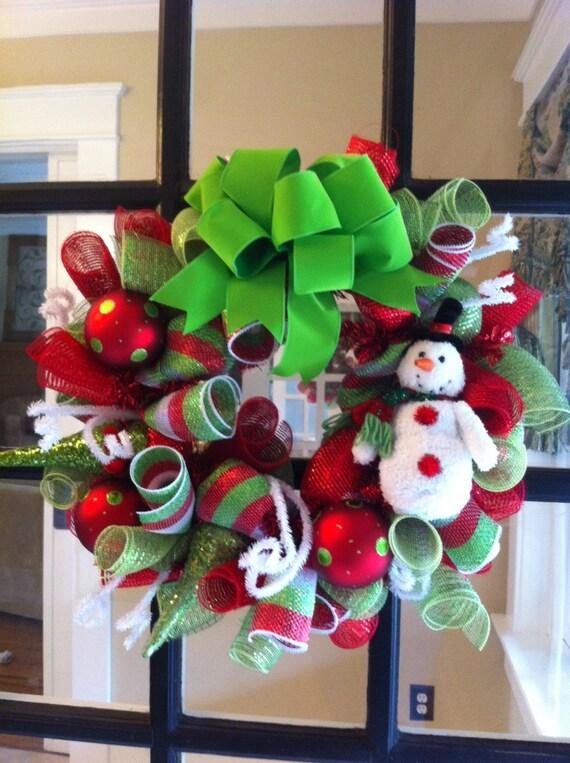 Snowman Deco Mesh Christmas Wreath