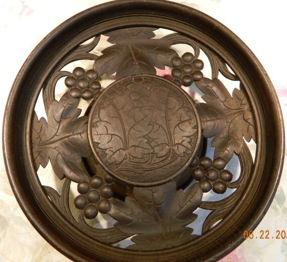 LUCERN SWISS Made Carved Wooden Music Box Bowl