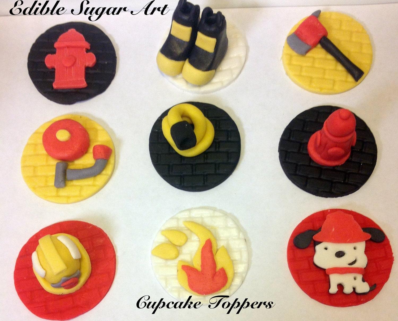 Fondant Fire Truck Cupcake Topper Firefighter Cake Topper