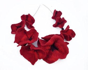 Felted Collar felt Poppies Necklace Poppy art jewerly nunofelt Nuno felt collar Art deco silk fairy floral fantasy Fiber Art boho