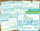 EDITABLE and INSTANT DOWNLOAD-Etsy Business Planner-Work at Home Planners-21 documents