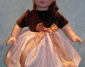 18 Inch Doll Clothes - Brown Velvet Peach Taffeta Holiday Dress for 18 inch dolls