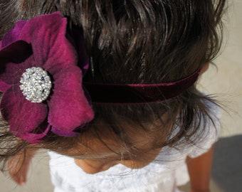 Purple Silk Flower Headband, Baby Girl Headband, Newborn Headband, Infant Girl Headband, Girls Hair Clip, Women Hair Clip
