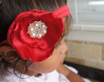 Red Fabric Flower Headband, Infant Girl Headband, Newborn Girl Headband, Baby Girl Headband, Women Hair clip/Headband