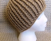 Crocheted Ribbed Adult Beanie Hat - Ready to ship