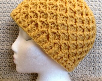 Hand Crocheted Diamond Ridges Adult Hat - Ready To Ship