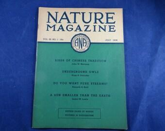 Vintage 1936 Nature Magazine - July