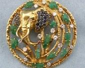 Vintage/Antique Elephant Diamond,Emerald,Sapphire&Ruby Enhancer/ Brooch / Pendant  Set in 18K Yellow Gold, SKU PIN-1027
