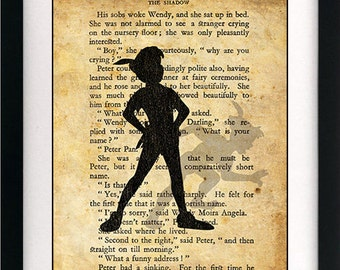 Peter Pan & Wendy Shadow Art Book Print - A4 or A3 Large Vintage Page Effect Wall Quote.