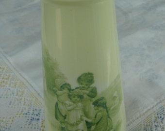 Vintage Romantic Rosenthal Green Vase Children Playing
