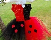 Harley Quinn tutu with crochet top and ribbon that ties around the neck.