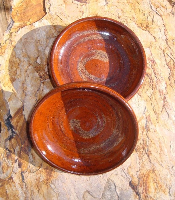 Set of Two Shallow Autumn Russet Pottery Bowls