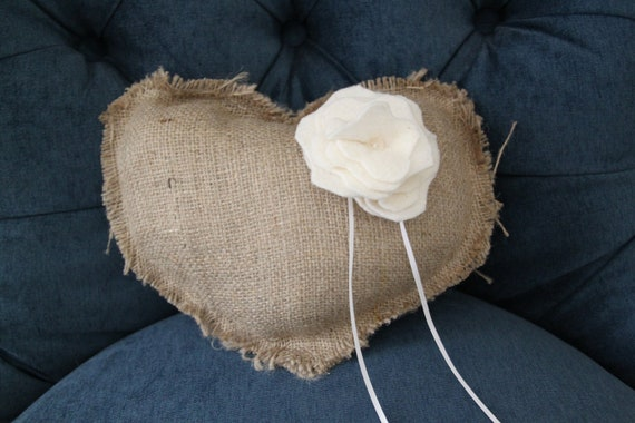 Burlap Ring Bearer Pillow - Rustic - Vintage - Happily Ever After - Wedding