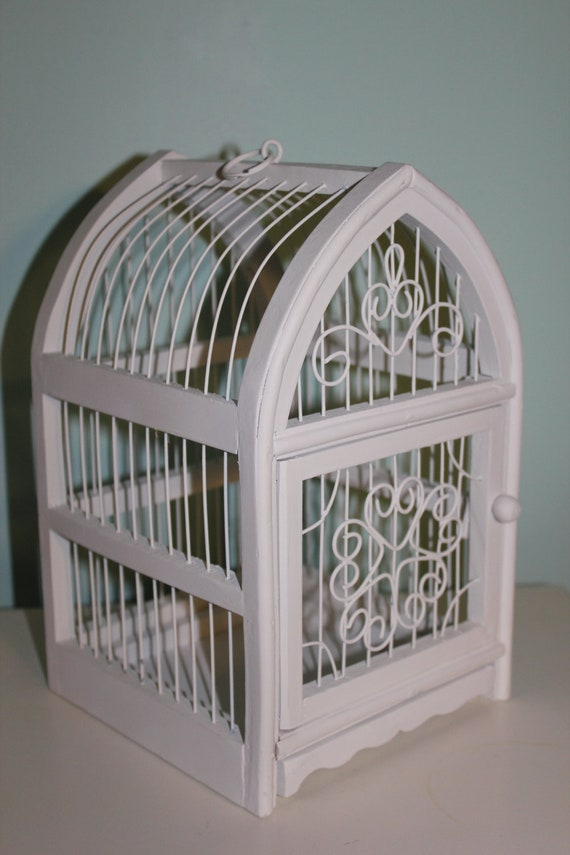 Vtg. Shabby Cottage Chic White French Country Ornate Bird cage