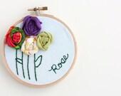 Custom Memory Hoop Art Ornament Hand Embroidery Personalized Keepsake Needlepoint Embroidery Hoop Wall Art Nursery Decor