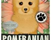 Dogs and Flowers Art Print - Pomeranian Print 11 x 14